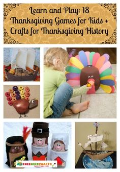 Learn and Play: 18 Thanksgiving Games for Kids + Crafts for Thanksgiving History. What a fun way to teach kids about Thanksgiving! | AllFreeKidsCrafts.com