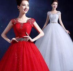 2016 Vestidos De Novia Wedding Dresses Ball Gown Scoop Beads Bridal Gowns Red Ivory Lace Tulle Corset Back In Stock Real Image