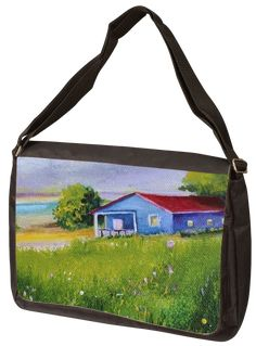 "Title:Peaceful Day; Artist Name:Alicia Maury Fine Art; Description: ""Great for Laptops! 17""    wide Laptop Shoulder Bag holds a full size laptop and includes an adjustable shoulder strap.    Main compartment has a zippered pocket, 2 open pockets and 2 pen holders. Middle compartment has a zipper front.  Front compartments zipper shut for...; Art Form:Paintings; Style:Impressionism; Media:Oil; Genre:Landscape Laptop Shoulder Bag, Shoulder Strap, Minimalist Painting, Pen Holders, Artist Names, Impressionism, Art Forms, Laptops, Middle"