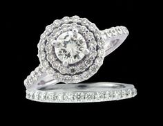 Double Hallow Engagement ring set  www.ozcaninc.com www.facebook.com/ozcaninc.