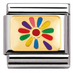 Official Nomination CLASSIC Gold Rainbow Flower Charm from The Jewel Hut. Nomination Bracelet, Nomination Charms, Rainbow Flowers, Classic Gold, Love Symbols, Flower Petals, Flower Designs, Peace And Love, Valentine Day Gifts