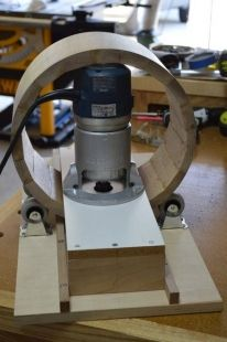 Drum Jig - Homemade drum jig constructed from wood and MDF. Intended for utilization in conjunction with a router.