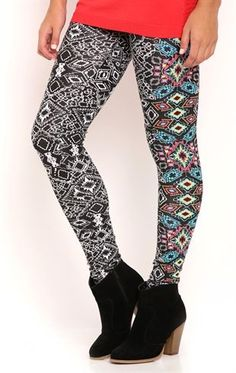 Deb Shops Colorful Aztec Print Leggings $10.00