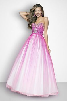 Hot Pink Sequin Ombre Tulle Strapless Lace Up Prom Gown $286.99 Designer Prom Dresses