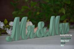 MR & MRS Mint Mint Green Wedding Decorations by WeddingGlitterSign