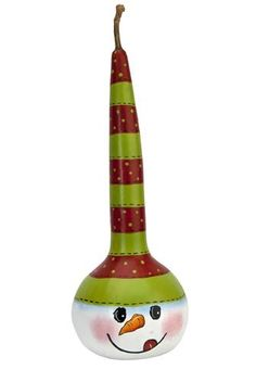 Snowman Gourd project from DecoArt Decorative Gourds, Hand Painted Gourds, Christmas Art, Christmas Ornaments, Gourds Birdhouse, Birdhouses, Diy And Crafts, Arts And Crafts, Gourd Art