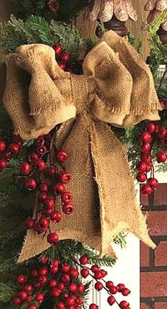 Burlap bow with berries....