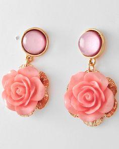 Coral Pink Rose Earrings