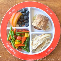 Dinner for kids : green bean salad, fruit, roll, and chicken #myplate