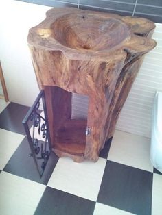 From Klaudijo Nikolic from Croatia. I want to show you something new. I work by my hand unique sink of one piece of wood. A sink is made of Elm tree. | WoodworkerZ.com