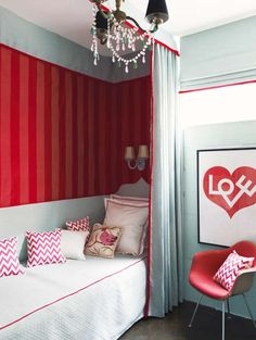 turquoise + red nook