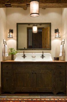 Modern Rustic Bathroom Design Ideas, Pictures, Remodel and Decor Boys Bathroom, Rustic Bathroom Designs, Rustic Bathroom Vanities, Rustic Sink, Rustic Bathrooms, Bathrooms Remodel, Bathroom Design, Beautiful Bathrooms, Bathroom Redo