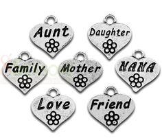 Family Theme Charm Pendants