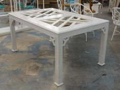 Vintage Chippendale Fretwork Dining Table
