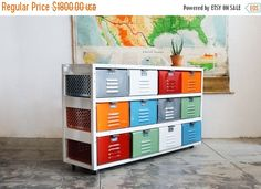 Holiday Sale! ** 4 x 3 Reclaimed Locker Basket Unit with Multicolored Drawers and Casters by RehabVintageLA on Etsy https://www.etsy.com/listing/186009295/holiday-sale-4-x-3-reclaimed-locker