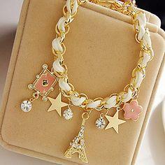 z y estrellas X® flores corazones brazalete de cristal cordón de cuero de la torre Eiffel 766771 2016 – €55.91