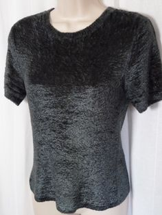 SAKS FIFTH AVENUE Petite Gray Chenille Blouse P Short Sleeve Sweater top 0515052