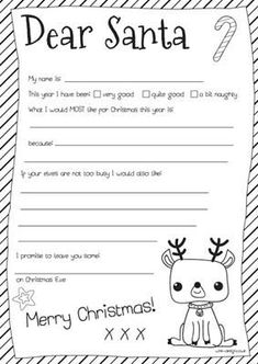 Kids Free Printable Dear Santa Letter Party Craft Idea