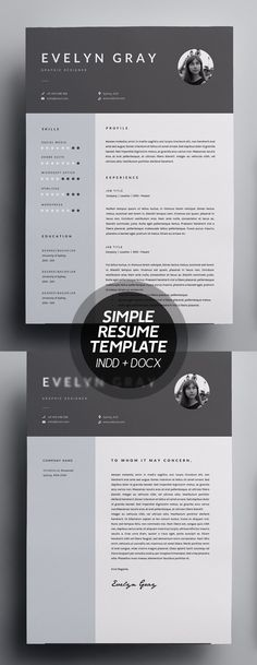 Simple and clean Resume Templates to present your completer bio-data, portfolio, education, skills, and job experiences. Modern resume design have everything College Resume Template, Simple Resume Template, Resume Design Template, Cv Template, Resume Templates, Mockup Templates, Templates Free, Cover Letter For Resume, Cover Letter Template