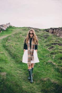 Gal Meets Glam Gap of Dunloe & Dingle - Serena & Lily dress, Dubarry sweater, scarf from Ireland, Hunter Boots
