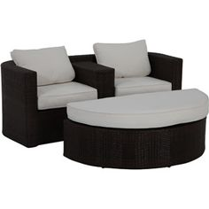 Lauderdale 2-Piece Wicker Outdoor Loveseat and Ottoman Lounger Set