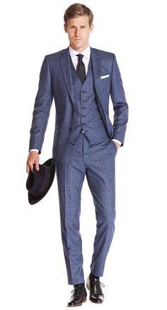 Suit Blue Check Ellis - Van Gils herenmode