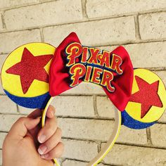 Items similar to Pixar Pier Inspired Mouse Ears on Etsy Diy Disney Ears, Disney Minnie Mouse Ears, Disney Bows, Disney Diy, Disney Crafts, Cute Disney, Disney Style, Walt Disney World, Disney Dress Up