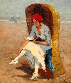 Lendo na praia, s/d Anthonie Pietsser Schotel (Holanda, 1890-1958) óleo sobre tela colado sobre madeira, 37 x 31 cm Coleção Particu...