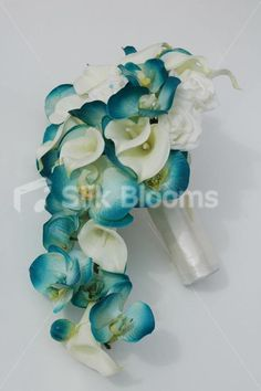 Stunning Turquoise Orchid & Ivory Calla Lily Cascading Bouquet Stunning Turquoise Orchid & Ivory Calla Lily Cascading Bouquet