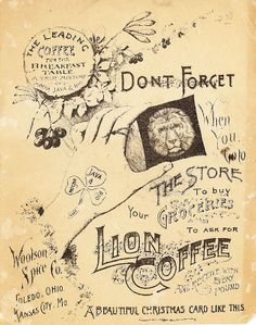 Lion Coffee Lion Coffee, Beautiful Christmas Cards, Vintage World Maps, View Source, Coffee Time, Sweet, Image, Old Paper, Candy
