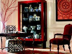 Milan China, 849-425, in Garnet. Oscar de la Renta chair in Crimson lacquer and red cut velvet.