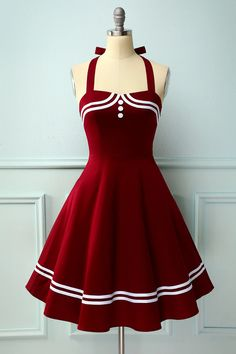 Zapaka Dark Red Style A Line Halter Rockabilly Pin Up Swing Dress Vintage Outfits, Vintage Dresses 50s, Retro Outfits, 1950s Dresses, Pin Up Dresses, Pretty Dresses, Fashion Dresses, Girls Dresses, 50 Style Dresses