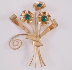 Coro Sterling Brooch Gold Vermeil Green Rhinestone Flowers.