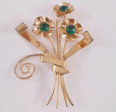 Coro Sterling Brooch Pin Gold Vermeil Green by Libbysmomsvintage