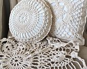 Home Decor Shabby Chic Round and Square Crochet Pillow Set and Matching Doily Throw Blanket Handmade Organic Cream Neutral Cotton
