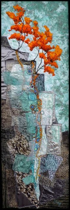 This lovely art quilt by Lorraine Roy, Escarpment #34, is a beautiful example of complementary red-orange and blue-green.