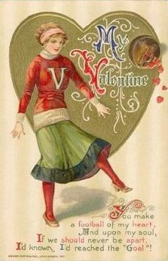 Valentine Schmucker Pretty Girl Kicks Soccer Ball Hearts Fall Out Winsch Valentine Songs, Valentine Cupid, Valentine Images, Valentines Greetings, My Funny Valentine, Vintage Valentine Cards, Valentines Day Hearts, Vintage Greeting Cards, Valentine Day Cards