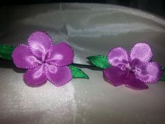 Purple flower hair pins 1 pair by LadyMacGyverBoutique on Etsy