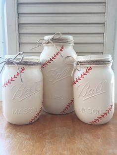 Painted Mason Jar Set. Baseball Themed. Party Decor. Ball Mason Jar. Home Decor. Baby Shower. Sports. Vintage White. by ChalkandPatina on Etsy https://www.etsy.com/listing/230375933/painted-mason-jar-set-baseball-themed