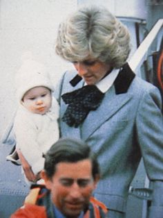 1985 March 22 - arriving in Aberdeen, Charles, Diana and baby Harry