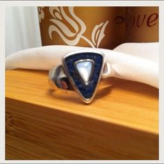 Lapis Moonstone Ring Inlay Lazuli Size 7 Carolyn Pollack Relios Sincerery Southwest Sterling Silver 925 Blue Stone Vintage Jewelry Navajo on Etsy, $55.00
