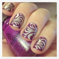 Plum and Gold Baroque Style Nails