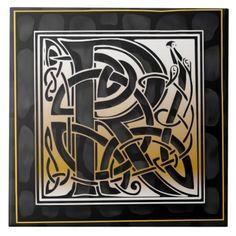 Celtic Black Stone R Monogram Initial Tile Ceramic Tile