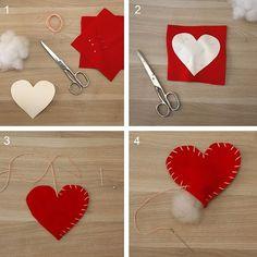 Felt Diy, Felt Crafts, Diy And Crafts, Crafts For Kids, Paper Crafts, Valentines Day Decorations, Valentine Crafts, Valentine Wreath, Sewing Machine Projects