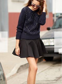 Skirt would need to be longer on me for work - but love the concept of dressy/casual together.