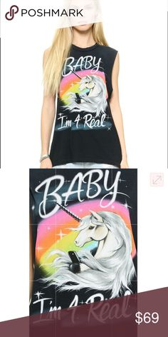 UNIF Baby I'm 4 Real Tank Shirt muscle tee unicorn Size M. Great used condition 55 UNIF Tops Muscle Tees