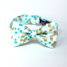 Mint Green Kid's Bow Tie with Gold and White Polka Dots - Any Size Boy's Bowtie by HandmadeByEmy on Etsy https://www.etsy.com/listing/234229996/mint-green-kids-bow-tie-with-gold-and