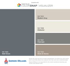 I found these colors with ColorSnap® Visualizer for iPhone by Sherwin-Williams: Wall Street (SW Modern Gray (SW Alabaster (SW Cityscape (SW Sticks & Stones (SW Exterior Paint Colors For House, Interior Paint Colors, Paint Colors For Home, Exterior Colors, Paint Colours, Exterior Design, Modern Gray Sherwin Williams, Sherwin Williams Tidewater, Sweet Home