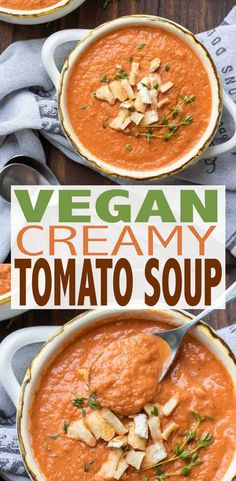 This healthy vegan tomato soup will be your new go to recipe for the whole family! It's filled with veggies, but so creamy and good you would never know! #vegansoup #30minutemeals Vegan Tomato Recipe, Vegan Tomato Soup, Tomato Soup Recipes, Curry Recipes, Vegan Recipes, Tomato Tomato, Barbecue Recipes, Grilling Recipes, Cooking Recipes
