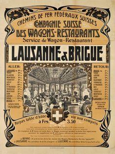 1905 Swiss restaurant railways time schedule between Lausanne and Brig (Valais), Switzerland vintage travel poster